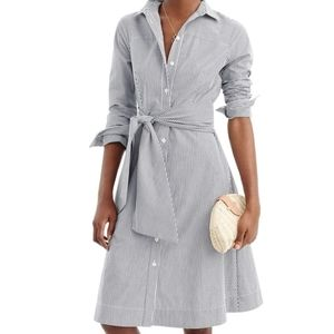 NWT: J.Crew Stripe Tie-Waist Shirt Dress - 6